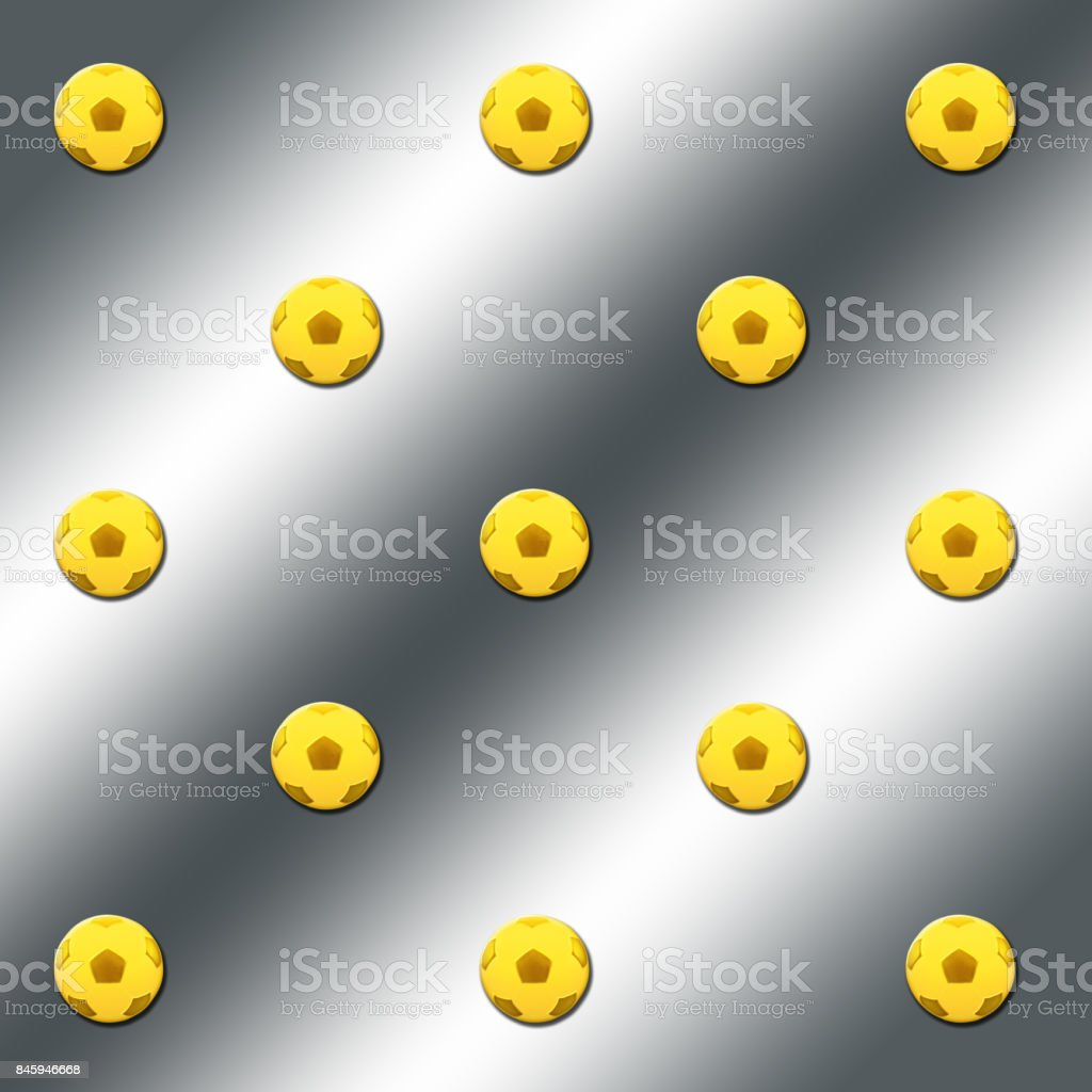 3D, Silver background with gold colored soccer-balls. stock photo