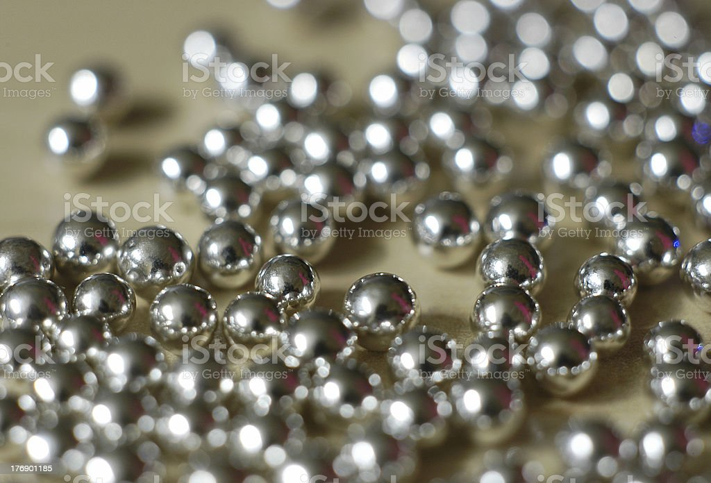 Silver ball bearings stock photo