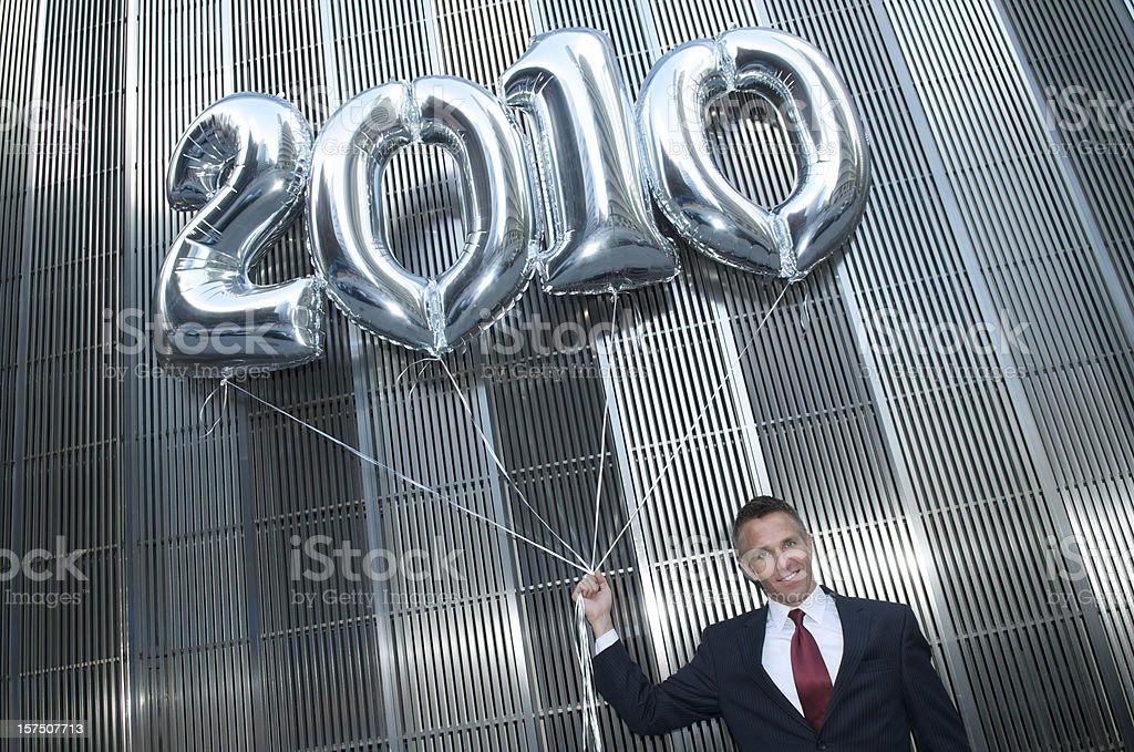 Silver Balloon 2010 Businessman royalty-free stock photo