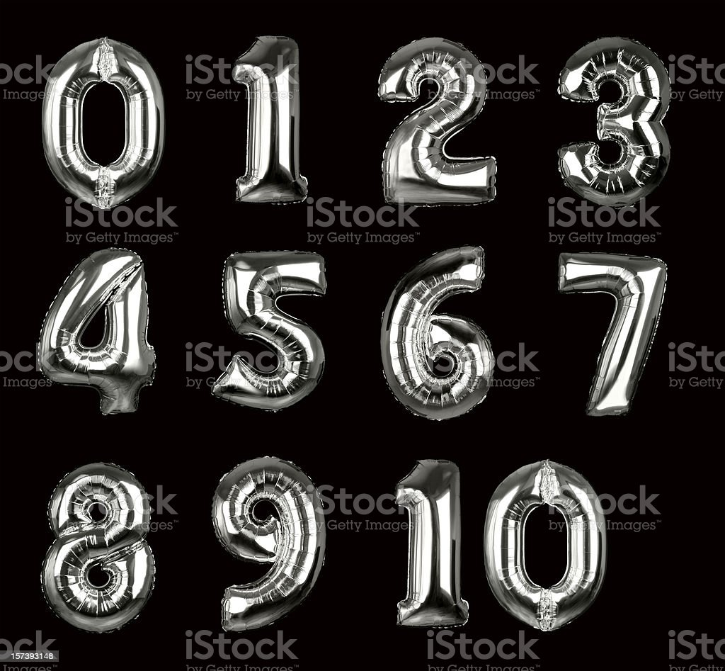 Silver Balloon Numbers 1-10 (+clipping paths, XXL) stock photo