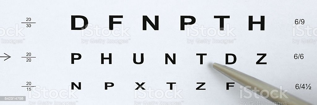 Silver ballpoint pen pointing to letter in eyesight check table stock photo