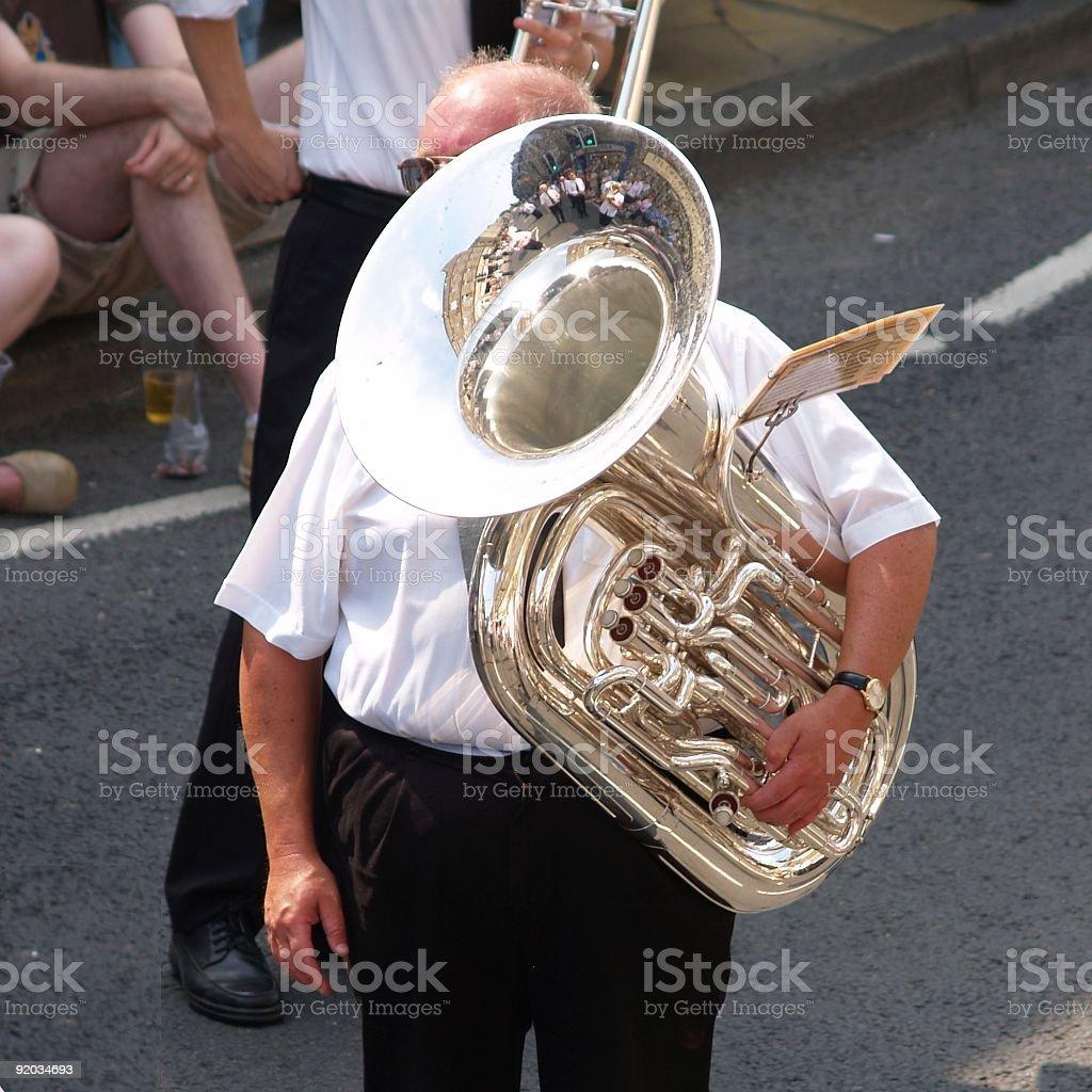 Silver band tuba player stock photo