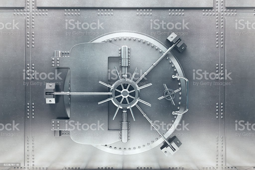 Silver bank vault front stock photo