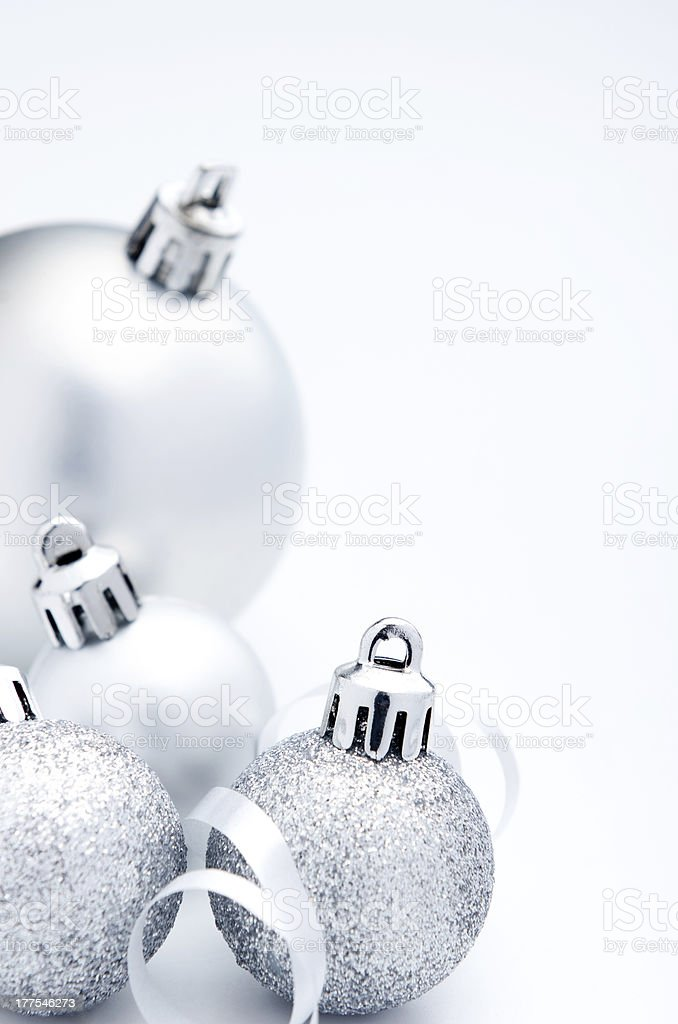 Silver baubles and ribbons royalty-free stock photo