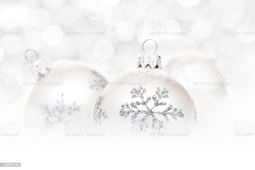 Silver Baubles on snow royalty-free stock photo