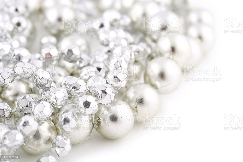 Silver Beads on White royalty-free stock photo