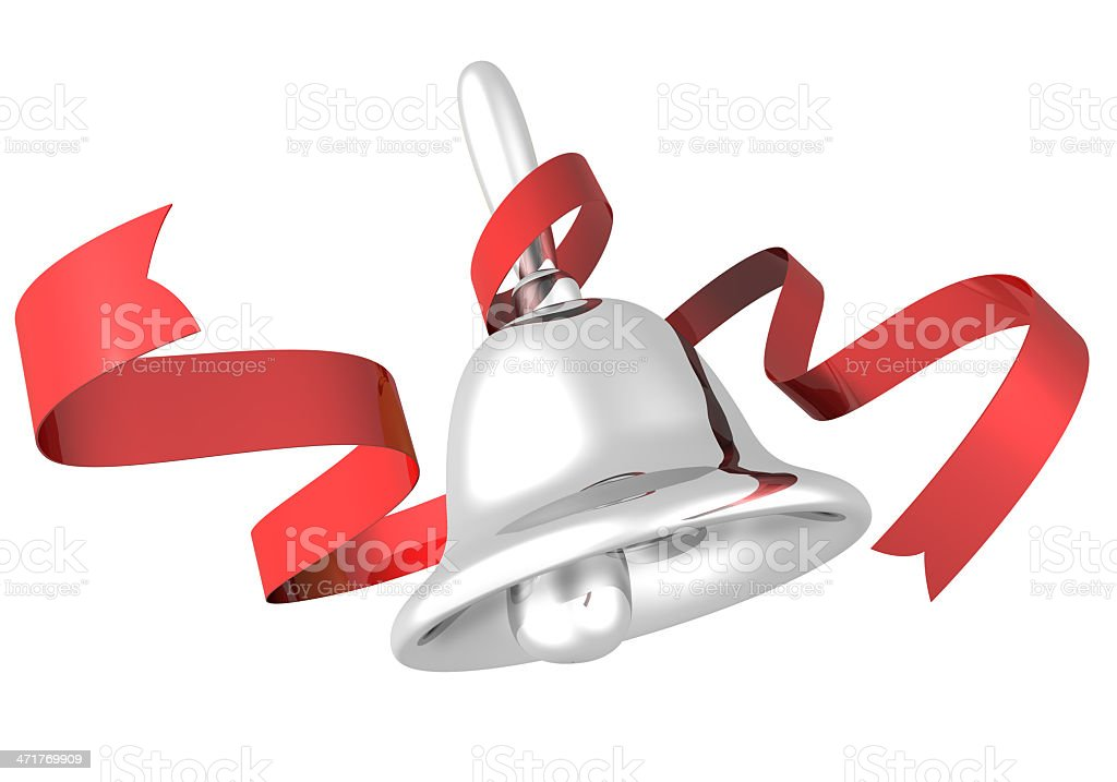 Silver Bell and Ribbon stock photo