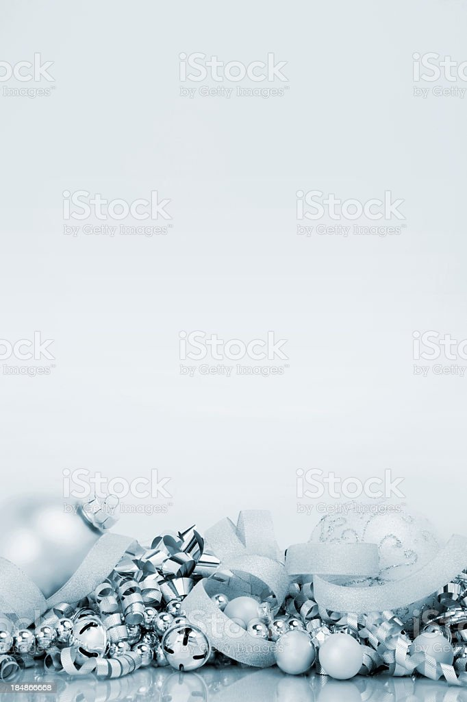 Silver bells and holiday decorations stock photo