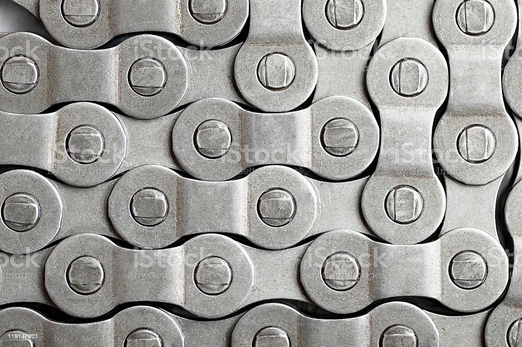 A silver Bicycle chain background stock photo