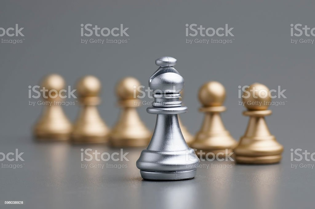 Silver Bishop chess stock photo