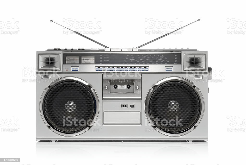 Silver boom box stock photo