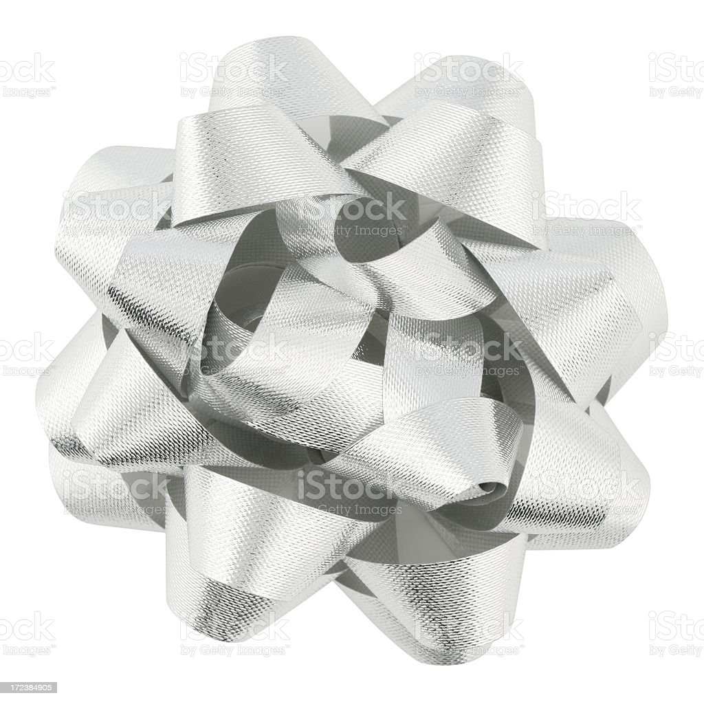 Silver Bow (with clipping path) royalty-free stock photo