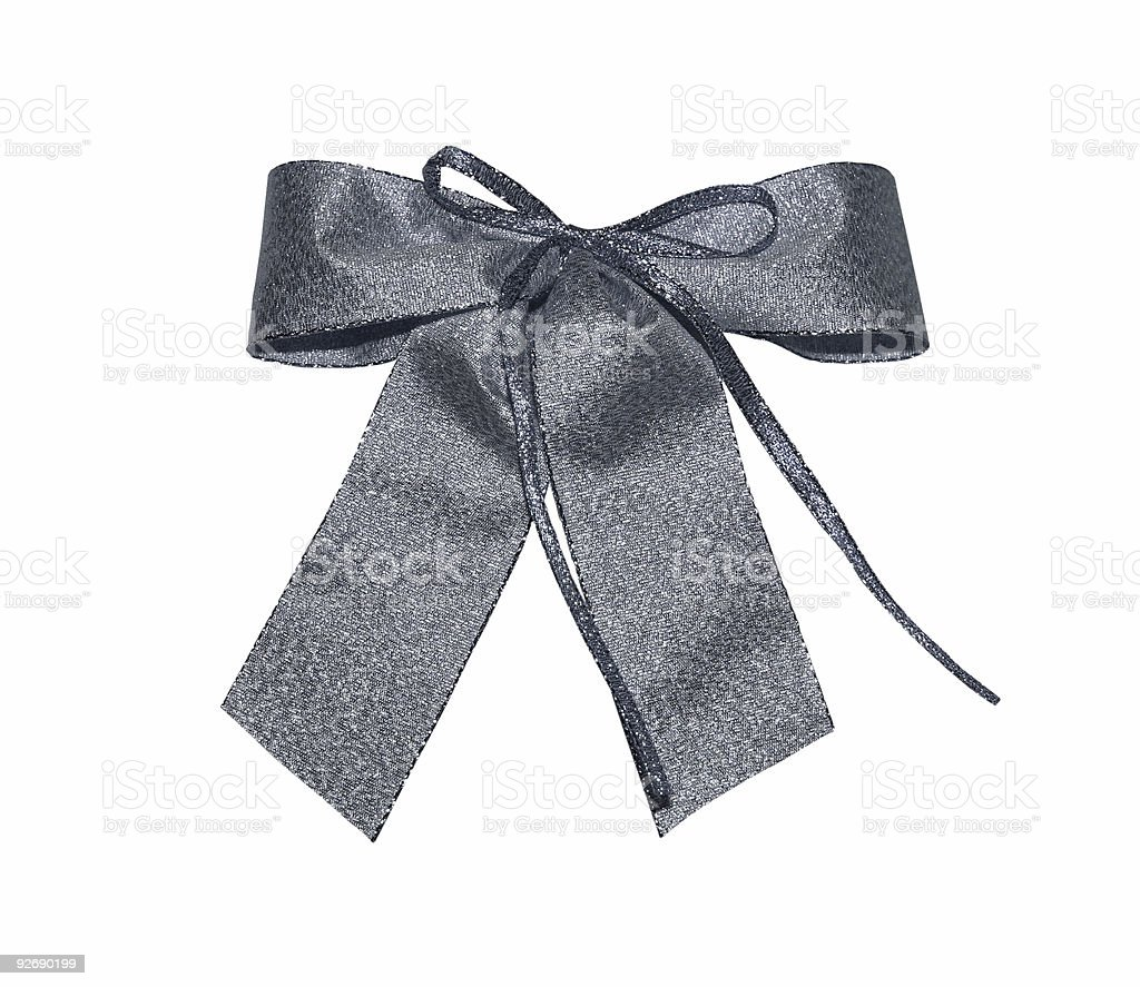 silver bow with path royalty-free stock photo
