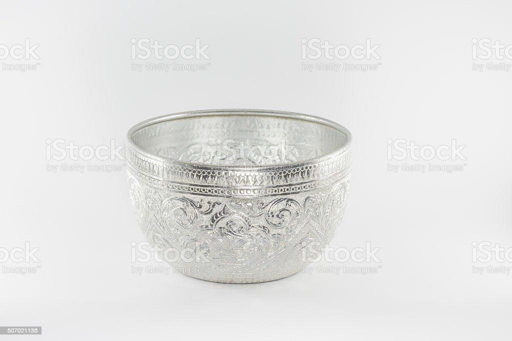 silver bowl in thai stock photo