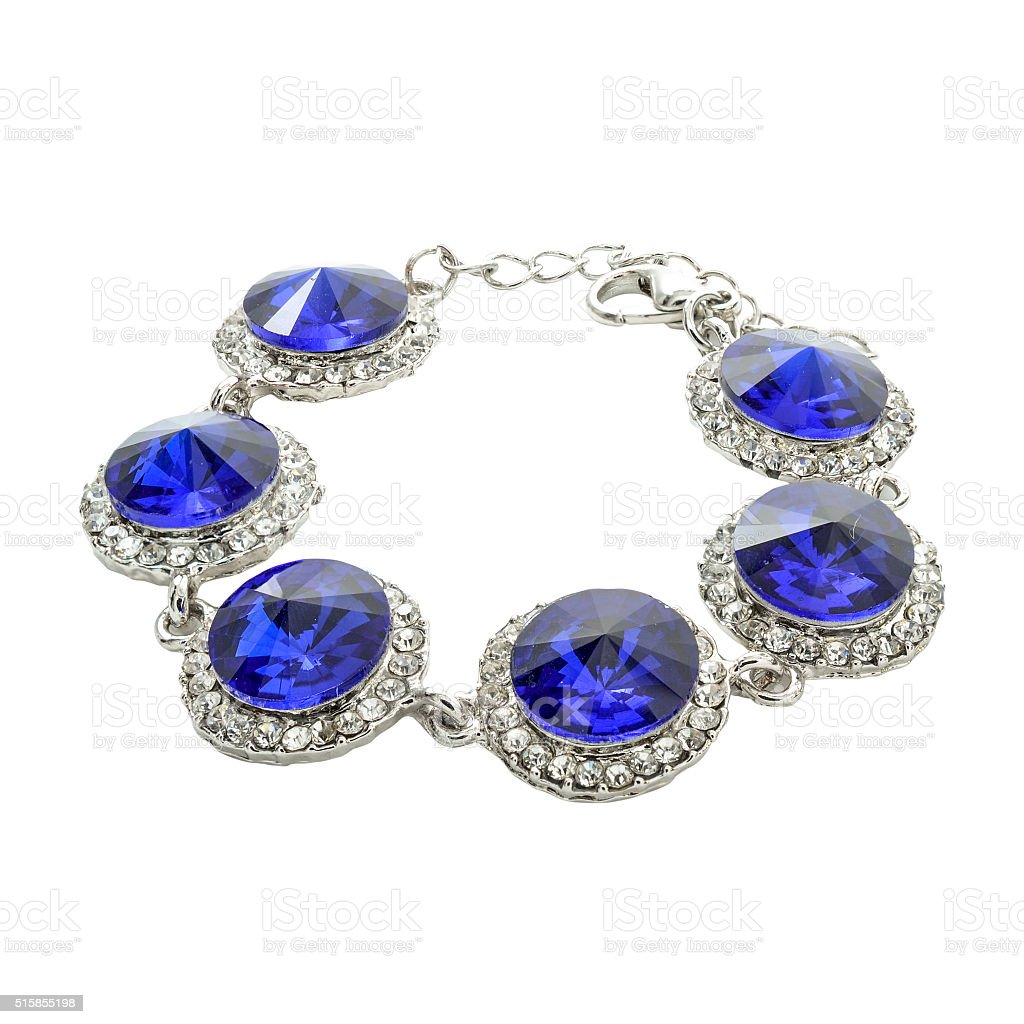 silver bracelet with blue stones isolated on white stock photo