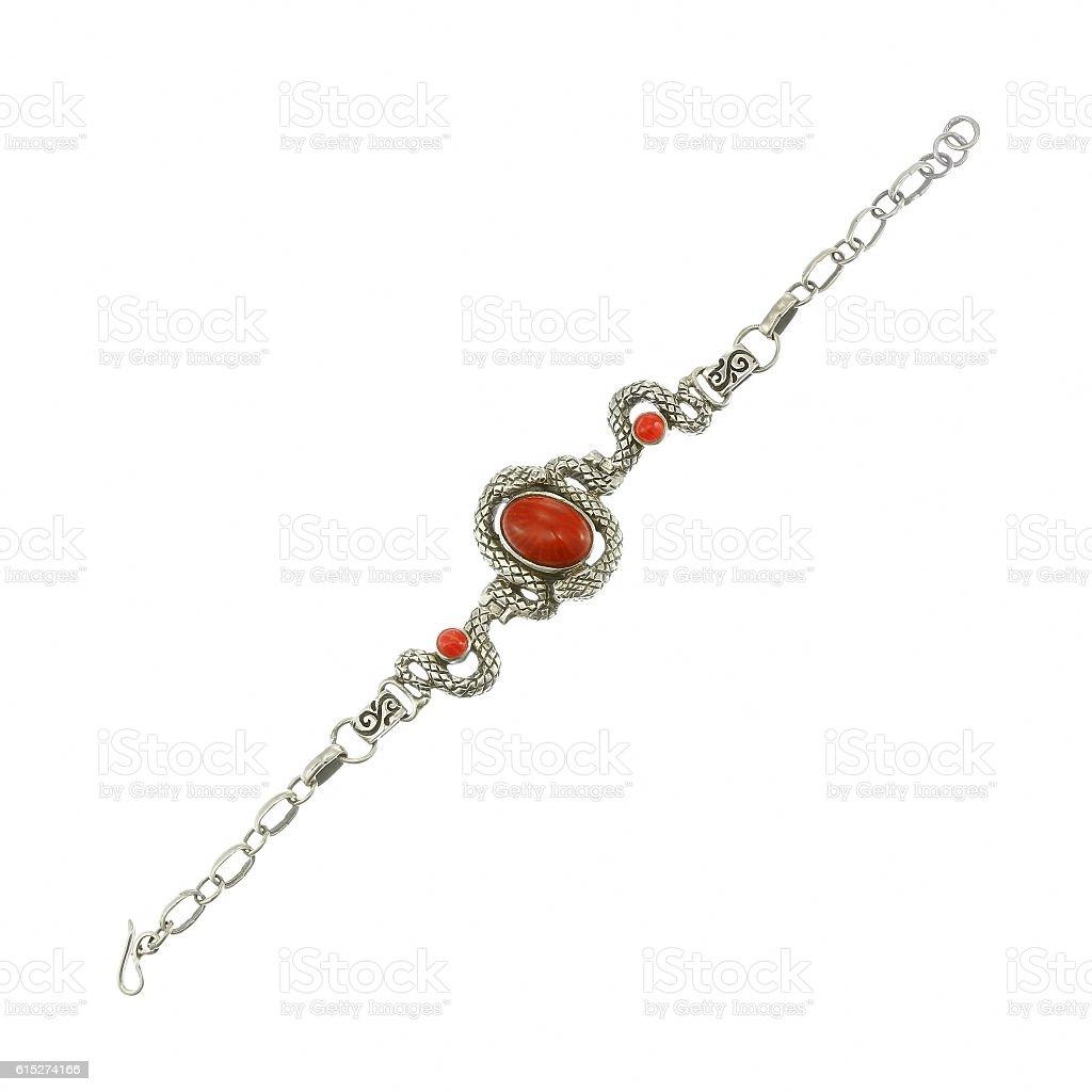 Silver bracelet with carnelian stones on white stock photo