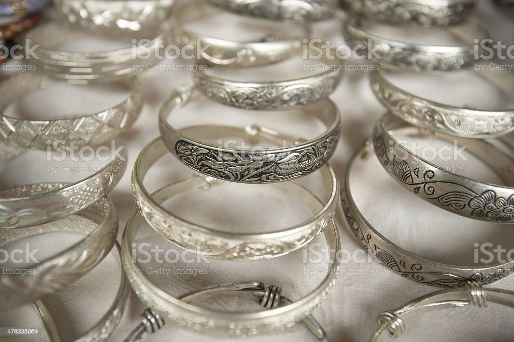 Silver bracelets on the indochinese market, Vietnam royalty-free stock photo