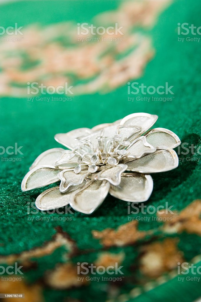 Silver brooch royalty-free stock photo