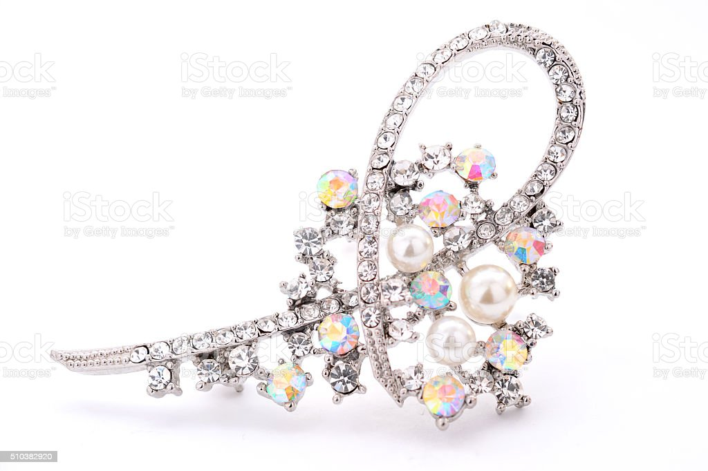 silver brooch with Brilliant on a white background stock photo