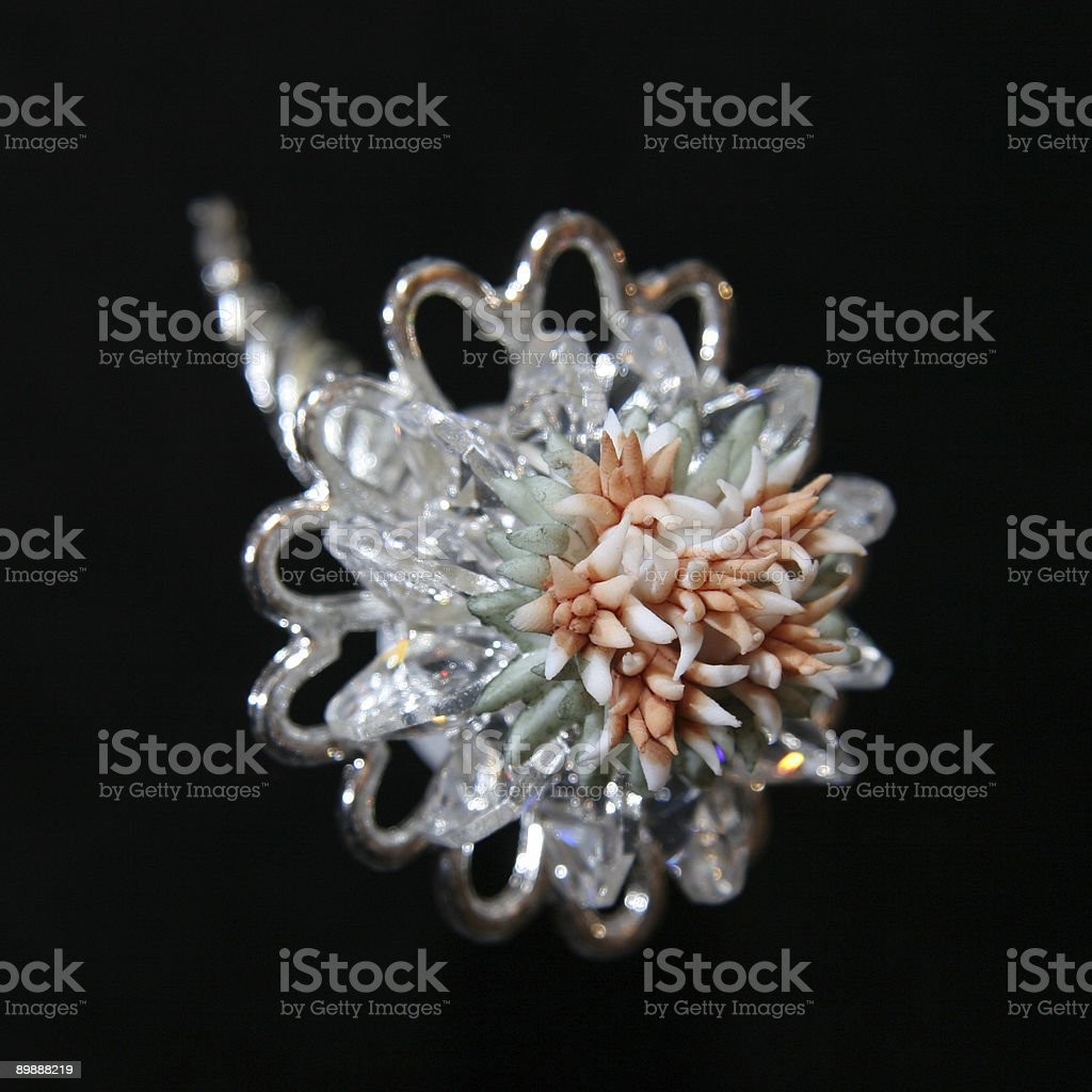 Silver brooch with flower royalty-free stock photo