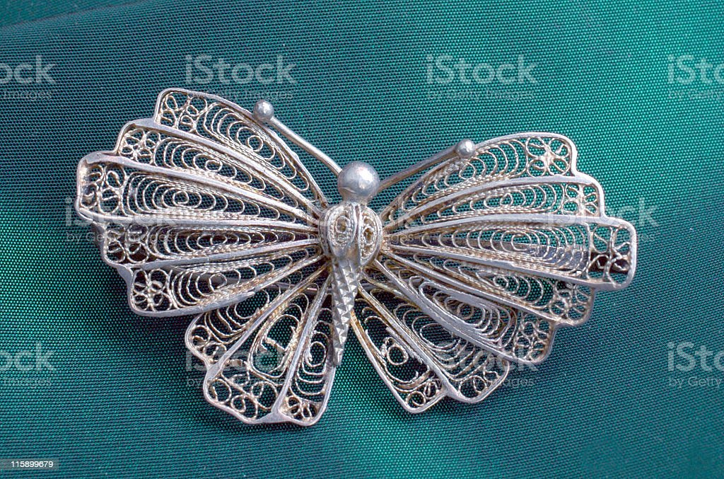 Silver butterfly brosh royalty-free stock photo