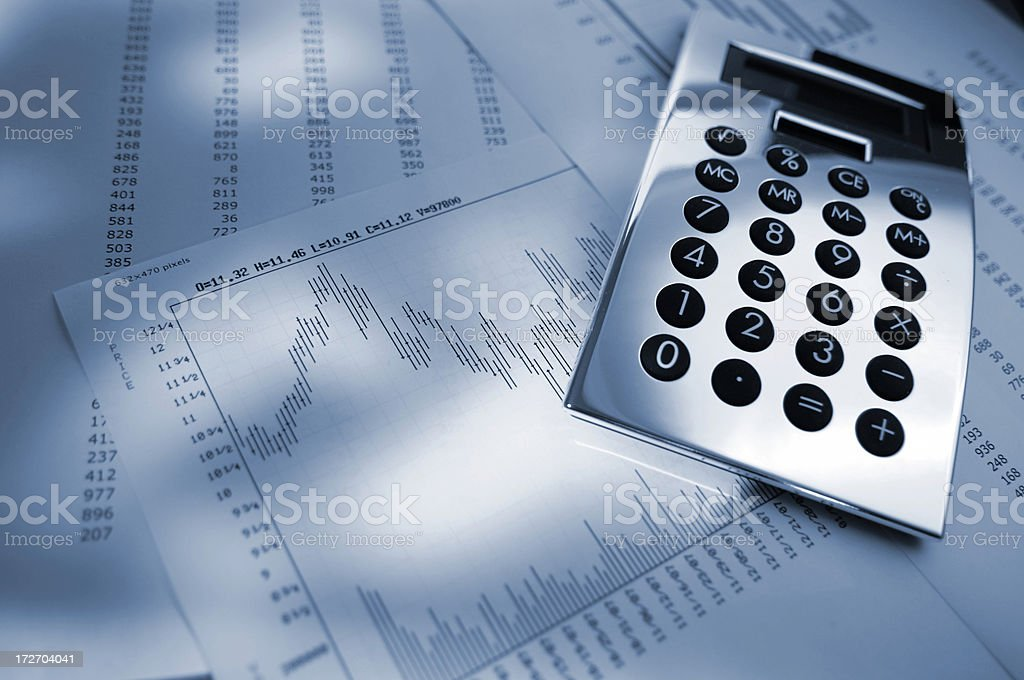 Silver Calculator On Graphs and Charts royalty-free stock photo