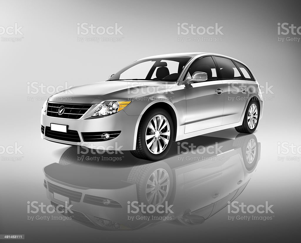 3D Silver car stock photo