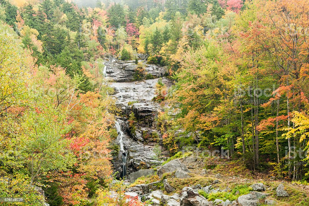 Silver Cascade waterfall wet autumn day stock photo