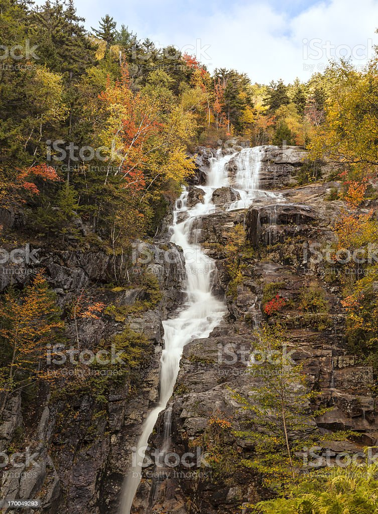 Silver Cascade waterfall, White Mountains, New Hampshire (vertical) stock photo