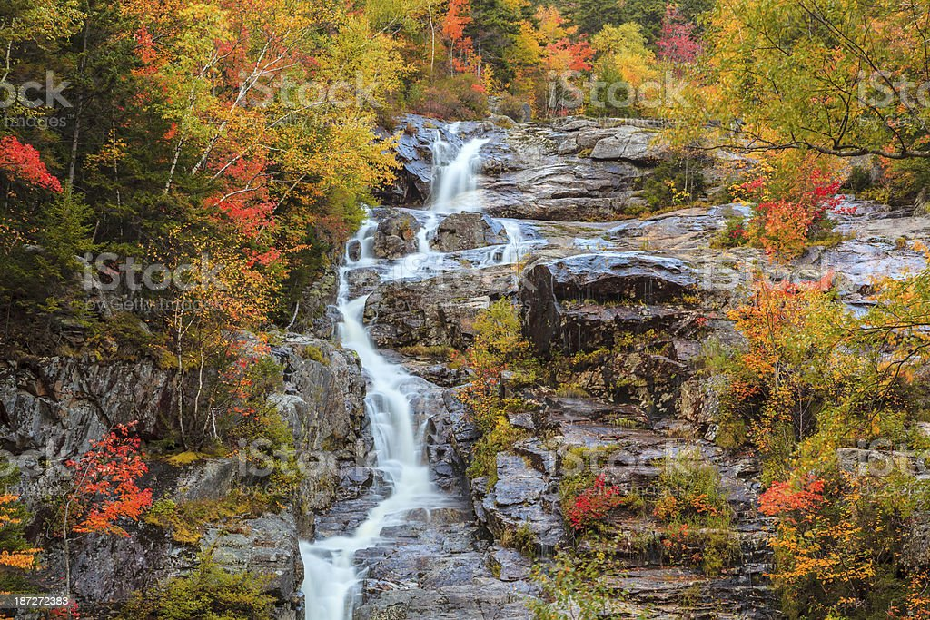 Silver Cascade waterfall, White Mountains, New Hampshire stock photo