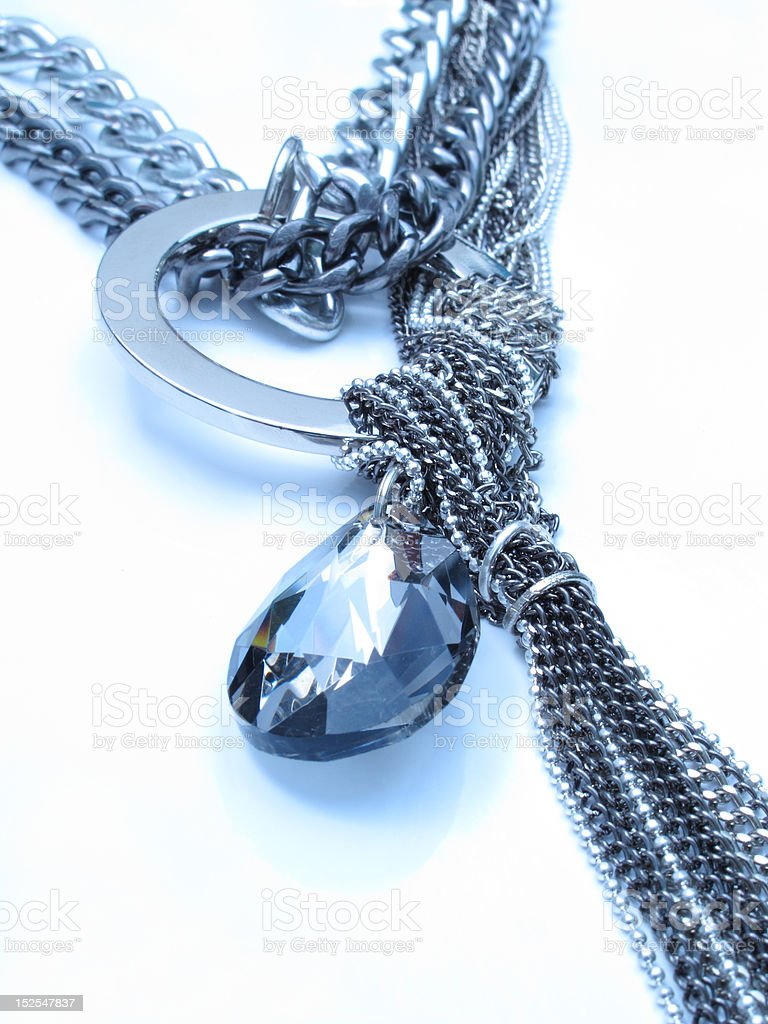 silver chain and black crystal royalty-free stock photo