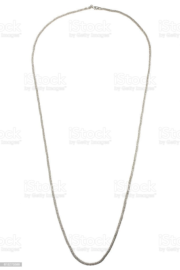 Silver chain on white background stock photo