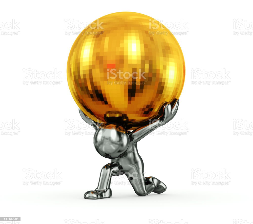 Silver Character lifting Gold Sphere stock photo