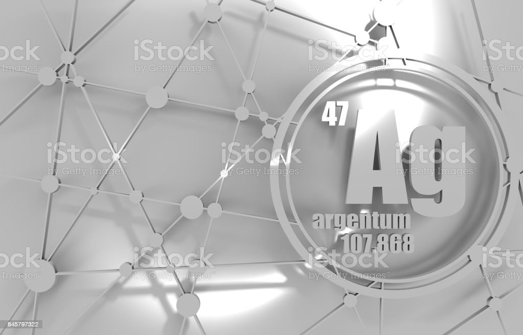silver chemical element. stock photo