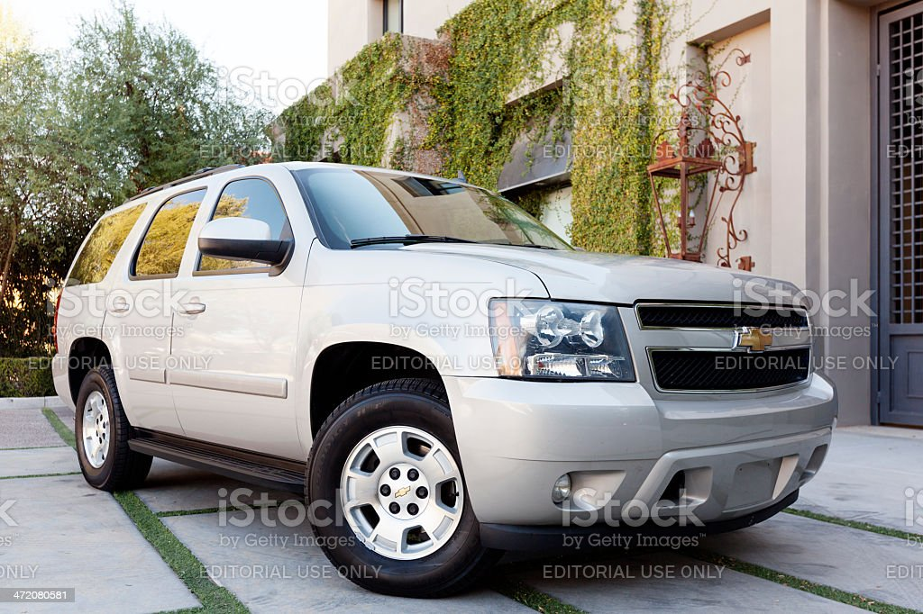 Silver Chevy Tahoe stock photo