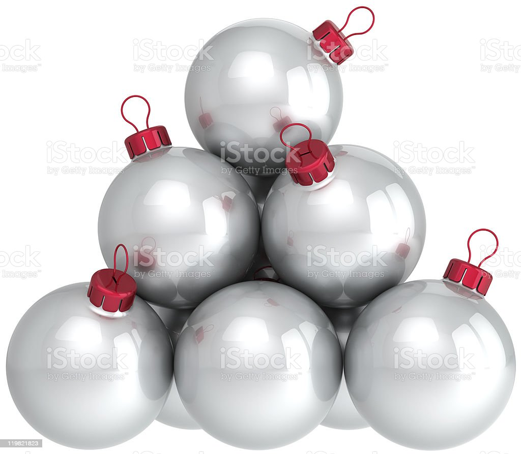 Silver Christmas balls white New Year baubles decoration classic royalty-free stock photo