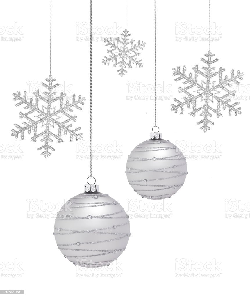 Silver Christmas Bauble and Snowflake stock photo