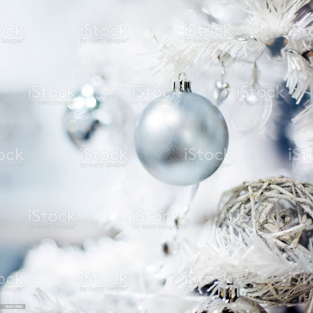 Silver christmas bauble decoration stock photo