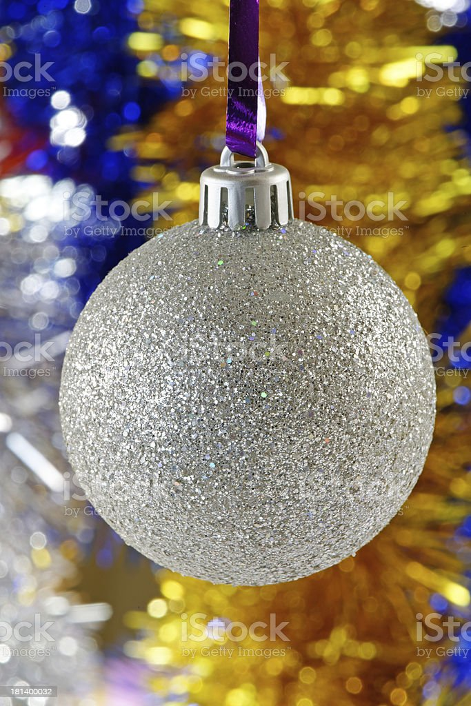Silver Christmas Bauble royalty-free stock photo
