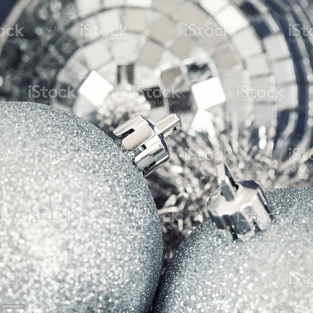 Silver Christmas Baubles royalty-free stock photo