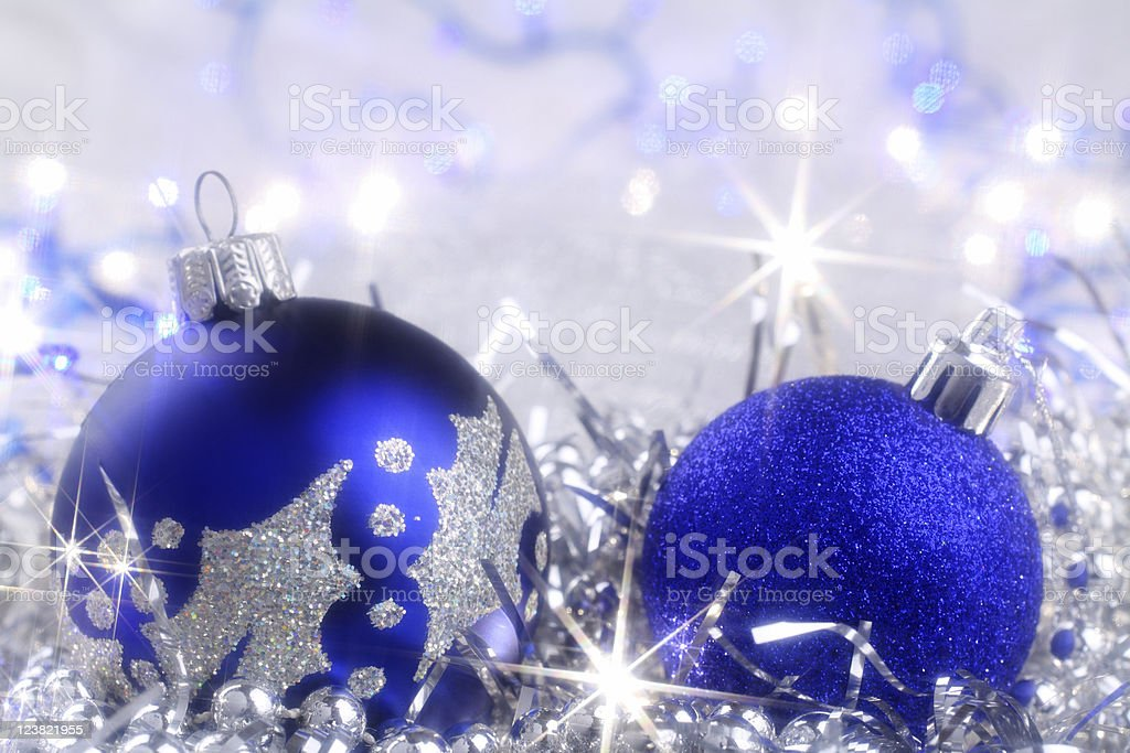 Silver Christmas card with blue ornaments royalty-free stock photo