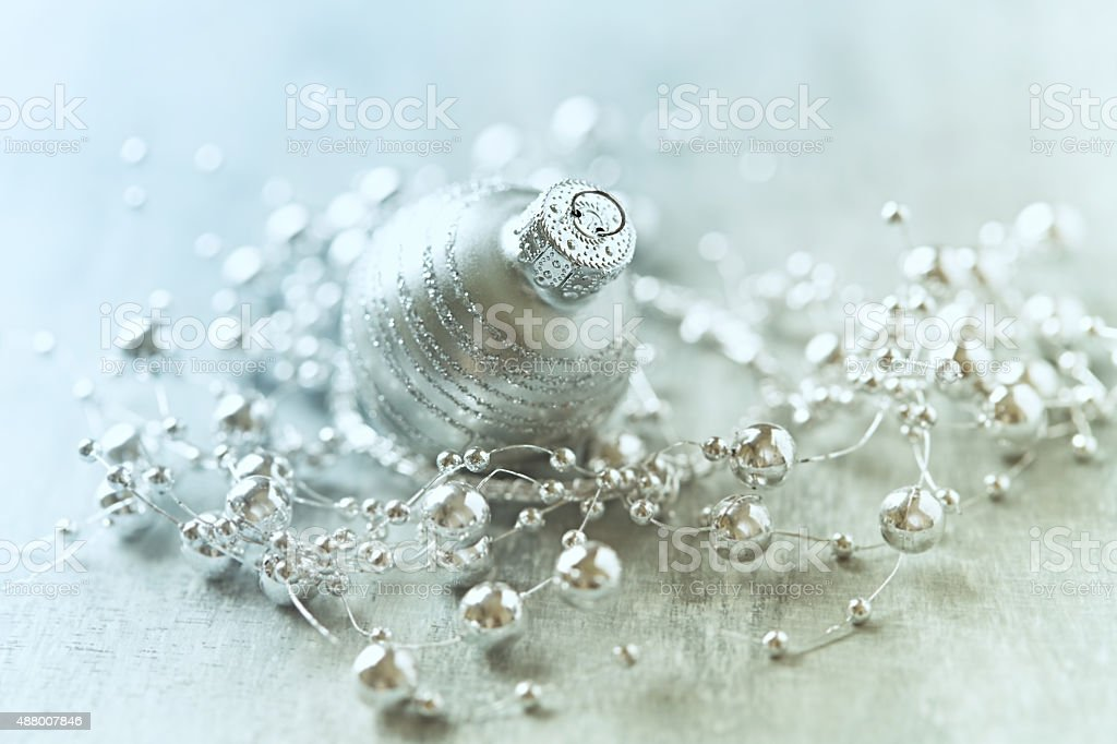 Silver christmas decoration stock photo