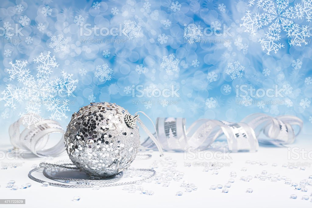 Silver Christmas decorations royalty-free stock photo