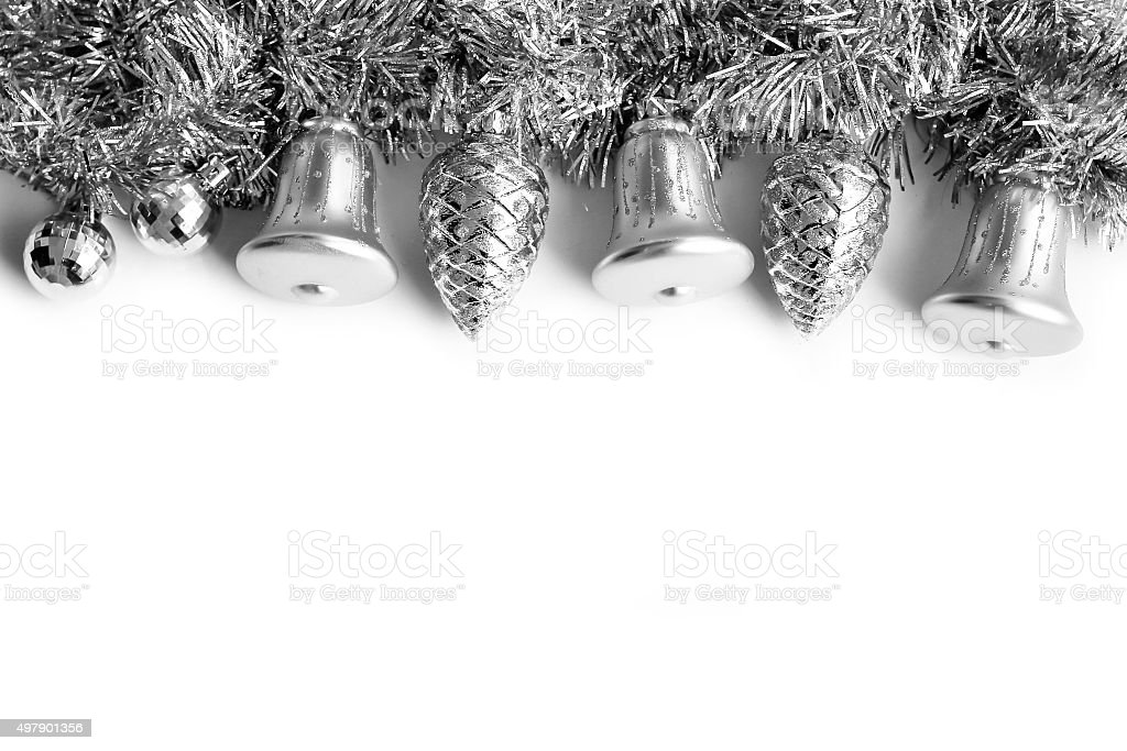 Silver Christmas Ornament Background stock photo