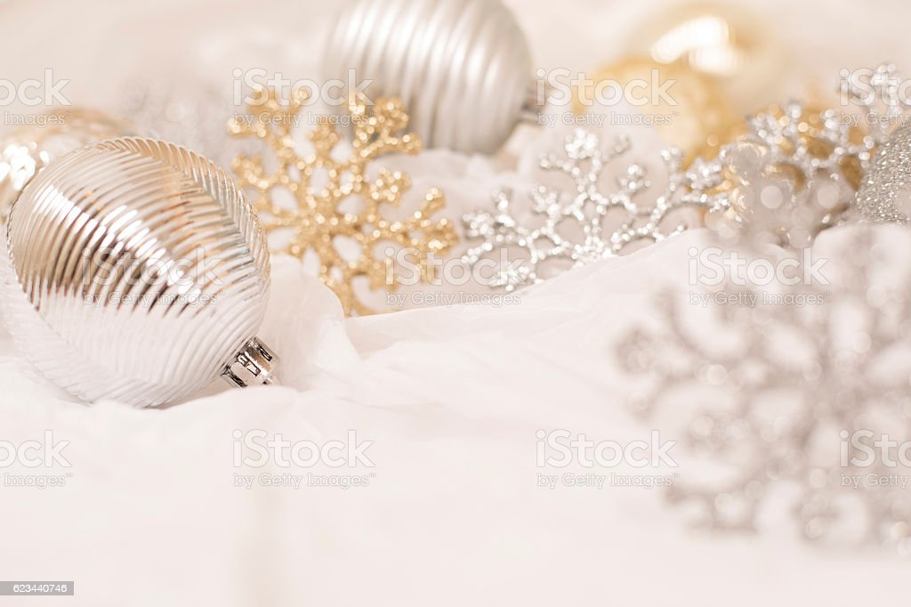 Silver Christmas ornament on white background. stock photo