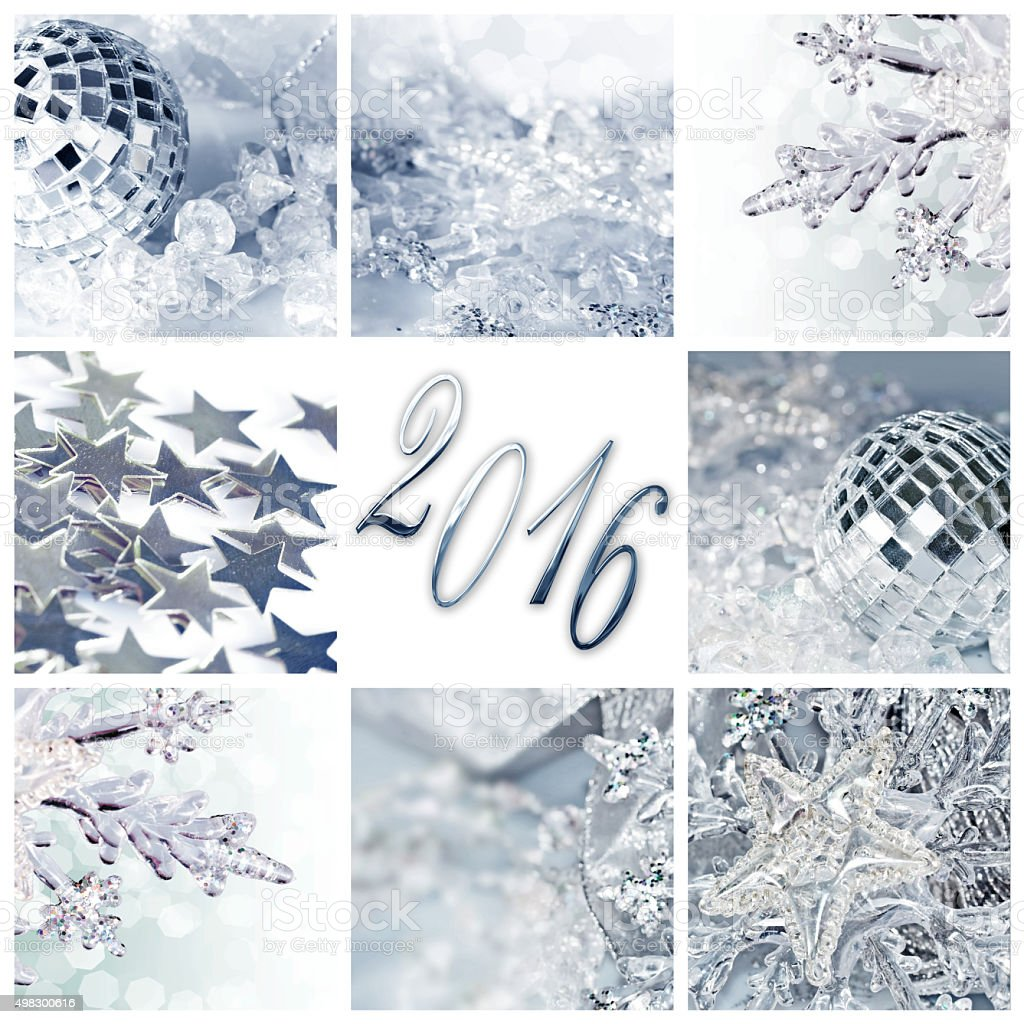 2016, silver christmas ornaments collage square greeting card stock photo