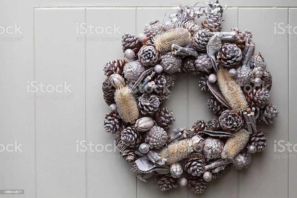 Silver Christmas Wreath stock photo