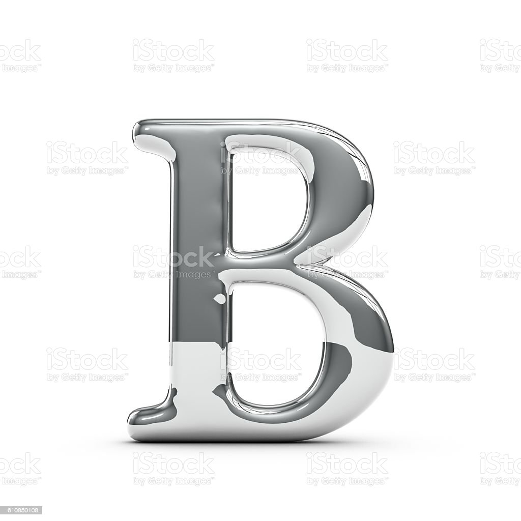 Silver chrome Capital letter B stock photo