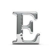 Silver chrome Capital letter E
