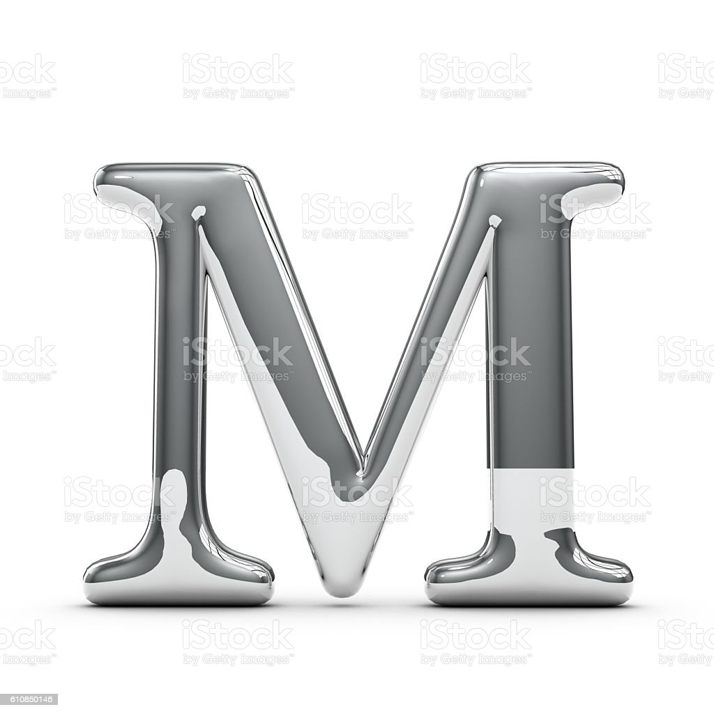 Silver chrome Capital letter M stock photo